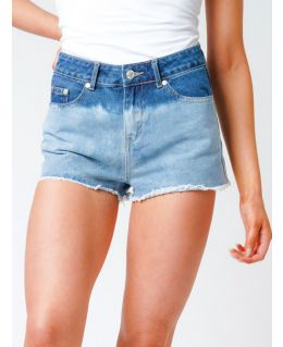 Womens High Waist dip Dye  Denim Shorts, Sizes 8 to 14