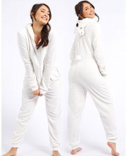 Womens Fleece Onsies All in One Jumpsuit Sleepwear Pyjamas with Pockets