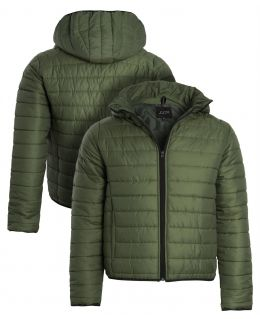 Mens Quilted Puffer Coat, Khaki, Size S to XL