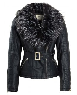 Womens Faux leather Biker Jacket with Faux Fur Collar, UK Sizes 8 to 14