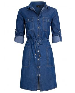 Womens Longline Denim Shirt Dress, UK Sizes 8 to 16