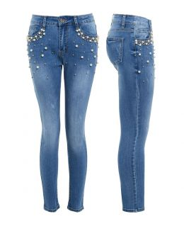 Womens Pearl Jeans Denim Slim Jean Plus Size 10 12 14 16 18 20 New