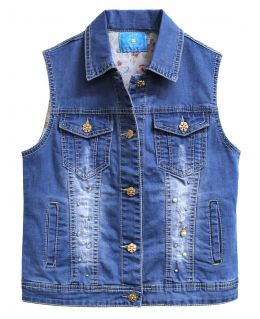 Girls Denim Gilet with Embellishment, Denim Blue, Childrens Ages 3 to 12 Years