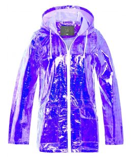 Womens Holographic Rain Mac, Lilac, White, UK Plus Size 18 - 24