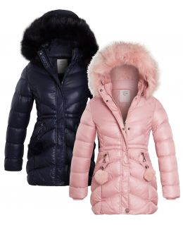 Girls Double Pom Pom Parka Coat, Navy, Pink, Ages 3 to 14 years