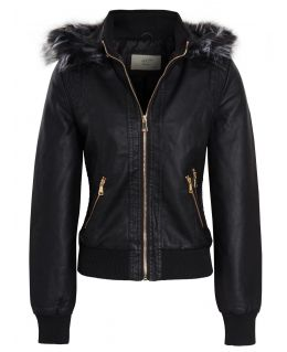 Womens Faux leather Bomber Biker Jacket, UK sizes 8 to 14