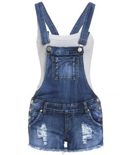 Stonewashed and Distressed Dungaree Denim Short
