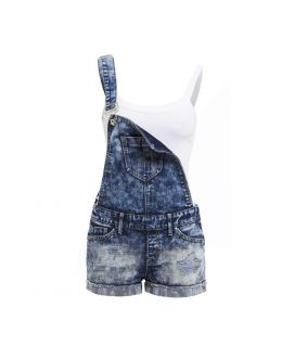 NEW DUNGAREE DENIM SHORTS Womens Size 8 10 12 14 16 Ladies DUNGAREES STRAPS Jean