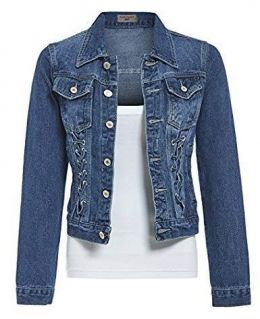 Distressed Denim Jacket with Lace Detailing