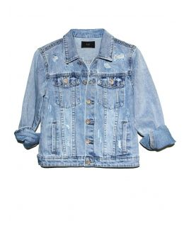 Girls Denim Jacket with Diamante Distressed Detailing, Childrens Ages 5 to 14 Years