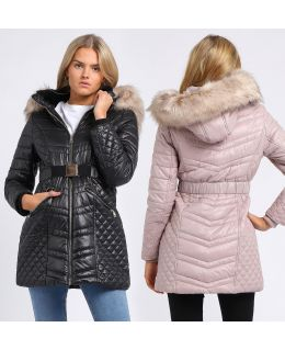 Womens Luxurious Faux Fur Quilted Parka Coat, Black, Champagne, UK Sizes 8 to 16