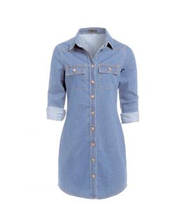 Blue Longline Denim Dress