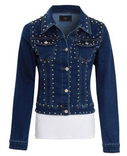Womens Stud Embellished Strech Denim Jacket, Indigo, UK Sizes 6 to 14