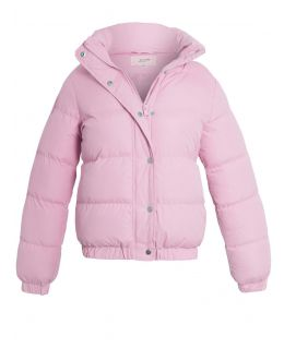 Girls Rainbow Stripe Puffer Jacket, Pale Blue, Pale Pink, Ages 7 to 13 Years