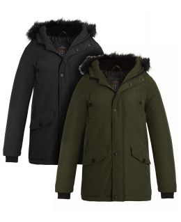 Boys Parka Winter Coat with Faux fur trim, Ages 7 to 13 Years, Black, Khaki