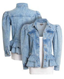 Peplum Denim Jacket with Puff Sleeves, Uk Sizes 8 to 16