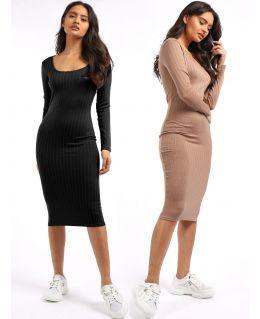 Scoop Neck Midaxi Dress, Black, Camel, UK Sizes 8 to 14