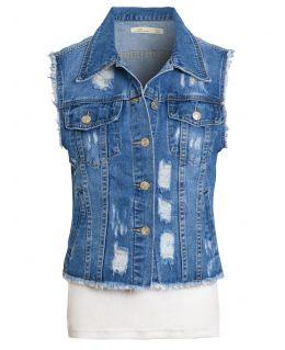 Distressed Ripped Denim Waistcoat Jacket, UK Sizes 8 to 12