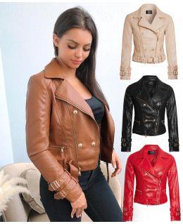 Faux leather PU Biker Jacket, Tan, Black, Stone, Red, Navy, UK Sizes 8 to 14