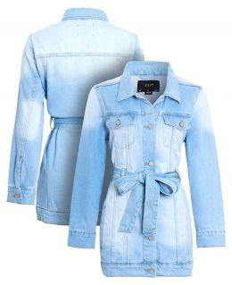 Womens Semi Oversized Girlfriend Denim Jacket, Bleach Wash, UK Sizes 8 to 16