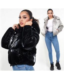 Velvet Sheen Puffer Jacket, Grey, Black, UK Sizes 8 to 16