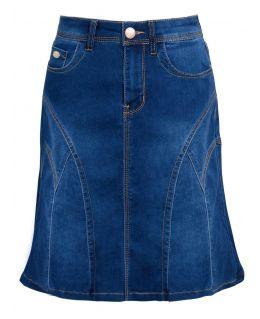 Womens Stretch Denim Flared Panel Skirt. Dark Blue. UK Sizes 8 to 16