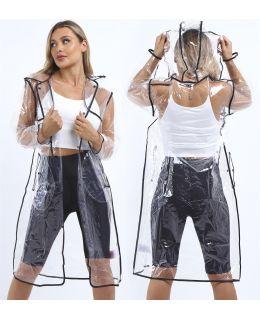 Transparent Waterproof Long Raincoat, UK Sizes 10 to 16