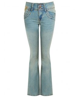 Womens Light Blue Green stretch denim Bootcut Jeans, UK Sizes 8 to 14