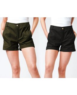 Womens Canvas Cotton High Waist Tailored Shorts, Sizes 8 to 14