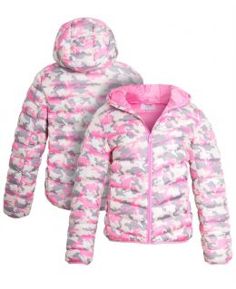 Girls Camouflage Pink Puffer Coat, Ages 7 to 13 Years