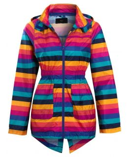 Girls Stripe Showerproof Rain Mac, Ages 7 to 13 Years