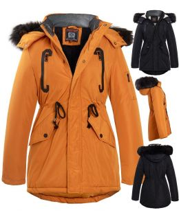 Boys Quilted and Padded Parka with Faux Fur Hood