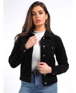 Womens Corduroy Jacket with Borg Collar, Black, Tan, UK Sizes 8 to 16