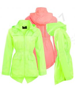 Girls Rain Mac Neon Showerproof Raincoat Jacket Ages Size 7 to 13 Years Hooded Coat