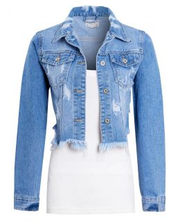 Womens Distressed Cropped Length Denim Jacket, UK Sizes 6 to 14