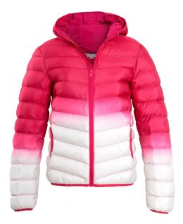 Girls Padded 2 Tone Puffer Jacket. Pink, Jade, Ages 7 to 13 Years