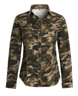 Cotton Twill Fitted Camouflage Shirt Top, UK Sizes 6 to 14