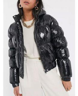 Vinyl Puffer Jacket, Black, UK Sizes 8 to 16
