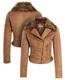 Womens Faux Suede Biker Jacket with Detachable Faux Fur Collar, Sizes 8 to 16