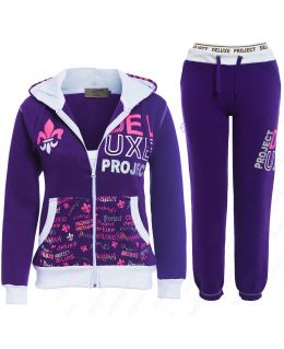 Girls Tracksuit Jersey 2 Piece Loungewear Age 7 8 10 12 13 Years Purple Hoody Pants