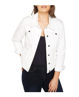 NEW Plus Size 16 18 20 10 12 14 Denim Jacket Women Jean Jackets Ladies White