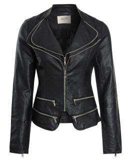 Womens Faux leather Biker Jacket with Double Zip Collar, Off White, Black, UK Sizes 8 to 16UK