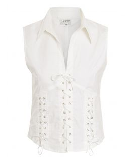 Womens Lace up Basque Shirt, Stretch Cotton, White, Uk Sizes 10 to 14