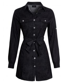 Womens Casual Fit Denim Shirt Dress, Black, UK sizes 8 to 16