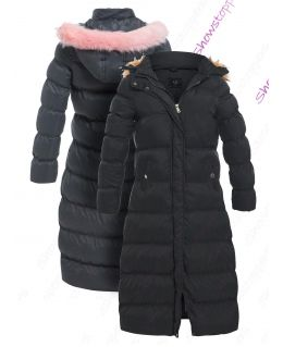 Padded Parka with Pink Faux Fur Hood