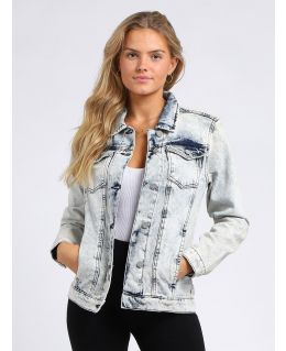 Womens Boyfriend Fit Denim Jacket, Acid Blue, UK Sizes 8 to 16
