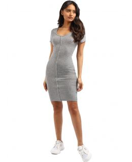 Button through Casual Short sleeve Dress, Grey, Black, UK Sizes 8 to 14