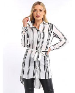 Chiffon Striped Shirt Dress, Black white, UK Sizes 8 to 16