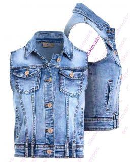Womens Denim Gilet Jacket Ladies Stretch Jean Waistcoat Size 8 10 12 14 16 6 Blue