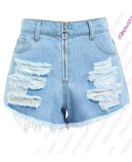 Womens Distressed High Waist Denim Shorts Ladies Rips Short Size 6 8 10 12 14
